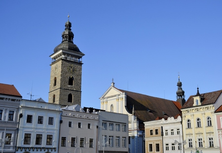 budejovice: Architecture from Ceske Budejovice with blue sky Stock Photo