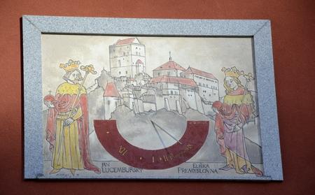 sun dial: Old sun dial on wall from Czech republic