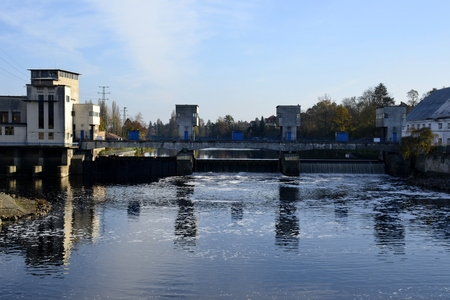 nad: Dam from Brandys nad labem with water reflections Stock Photo