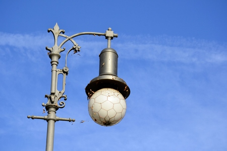 Detail of outdoor  street lamp and blue sky