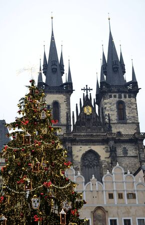 Architecture from Prague in Christmas with cloudy sky