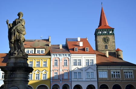 Architecture from town of Jicin and blue sky
