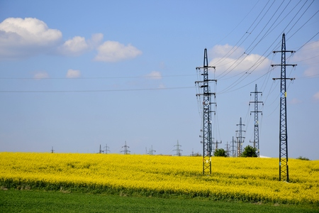 telephone poles: Electrical poles with a green field and cloudy sky Stock Photo