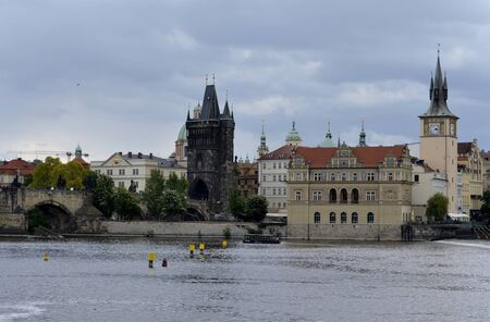Architecture from Prague with cloudy sky