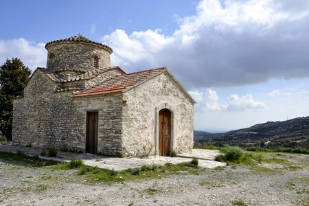 Architecture from old church in Kato Lefkara village and cloudy sky