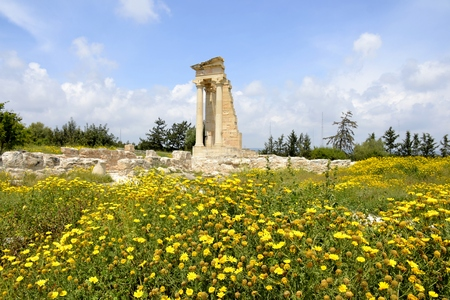 Architecture from the sanctuary of Apollon Hylates and cloudy blue sky Editorial