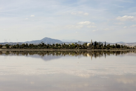 Outdoor landscape of Hala Sultan tekke in Cyprus with water reflections and cloudy sky Stock Photo