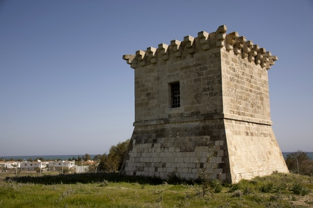 Details of  old historic tower in Cyprus and cloudy sky Stockfoto