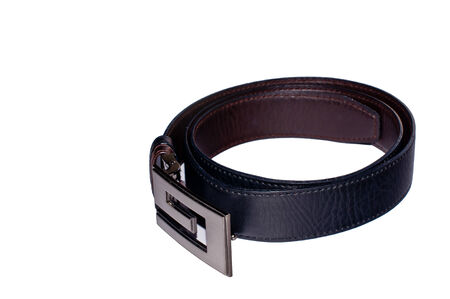 Leather black belt for men white background isolated Banco de Imagens