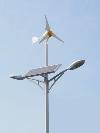 electric cell: Wind turbine and solar cell generate electric