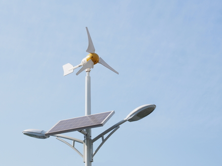 generate: Wind turbine and solar cell generate electric