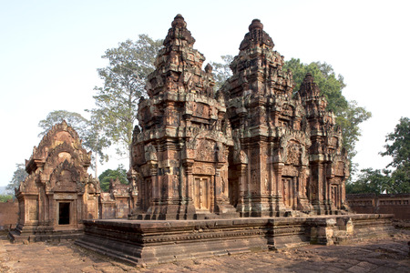 arcane: Scenic landscape with ancient Bayon temple  UNESCO world heritage site  - wide angle view, in Angkor Thom, Cambodia, South East Asia  Tradition, Culture and Religion