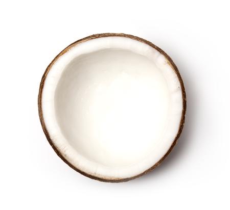 Kokos close-up op een witte achtergrond. Stockfoto