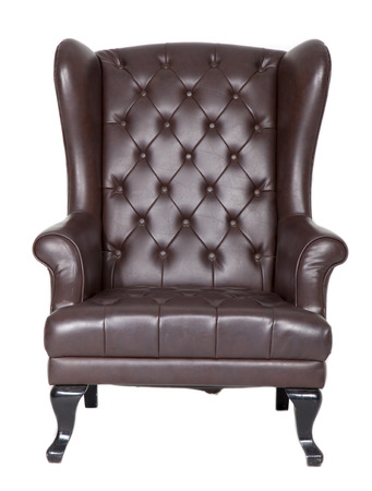 Leather chair isolated on white background. Banco de Imagens