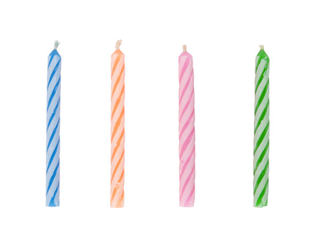 Birthday candles isolated on white background.