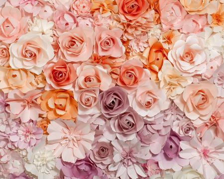 móda: Barevné květiny papírové pozadí vzor krásný styl. Reklamní fotografie