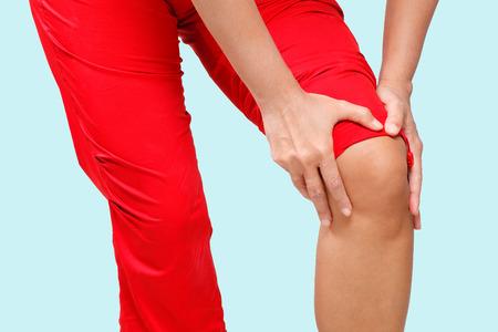 soreness: woman having knee pain Stock Photo