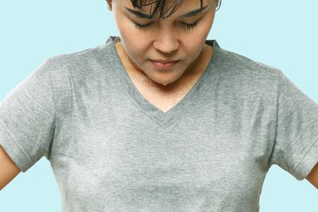 sudando: Retrato de una mujer sudoración deporte Foto de archivo