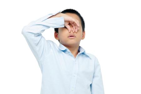 stinks: boy closing nose Stock Photo
