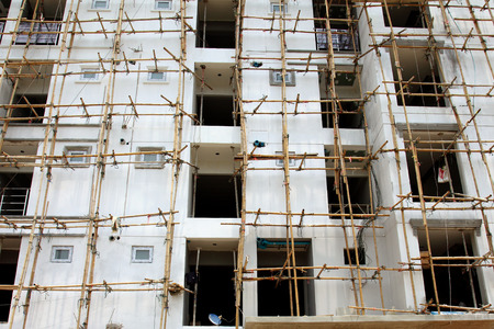 bamboo scaffolding for under construction building.
