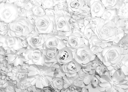 black and white flowers paper background pattern lovely style. Banco de Imagens