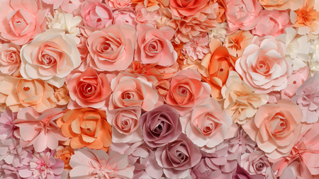 Colorful flowers paper background pattern lovely style. Panorama 16:9 widescreen.