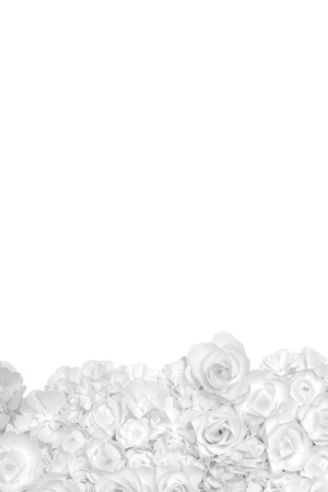 Black and white flowers paper background pattern lovely style. Backdrop with copy space. Banco de Imagens