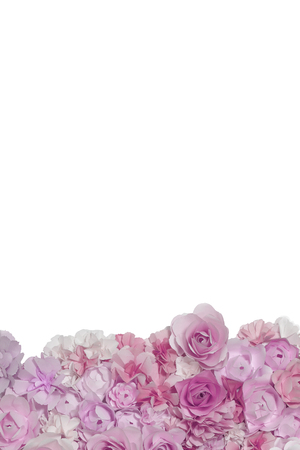 Pink pastel flowers paper background pattern lovely style. Backdrop with copy space. Banco de Imagens