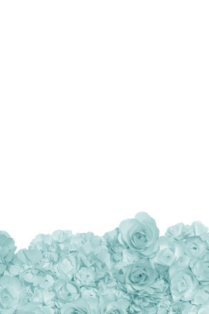 Cyan pastel flowers paper background pattern lovely style. Backdrop with copy space.