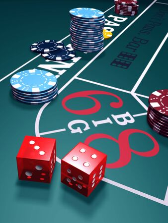 Casino craps game. Table with chips and dice.