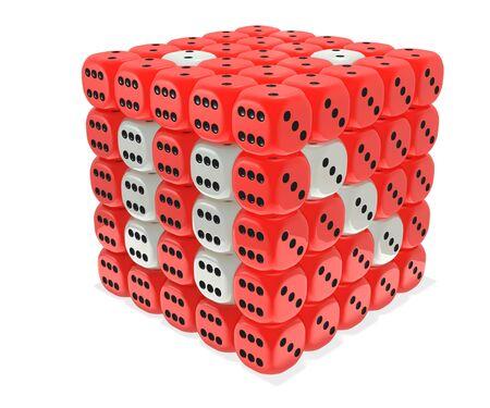 Plastic like raspberry dice cube cluster photo