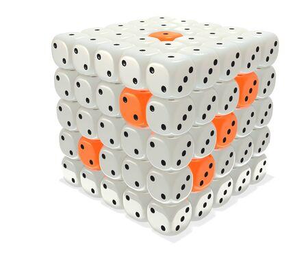 Ivory and orange dice cluster