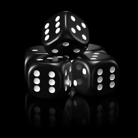 lowkey: Five black dice, black background, mirror reflection