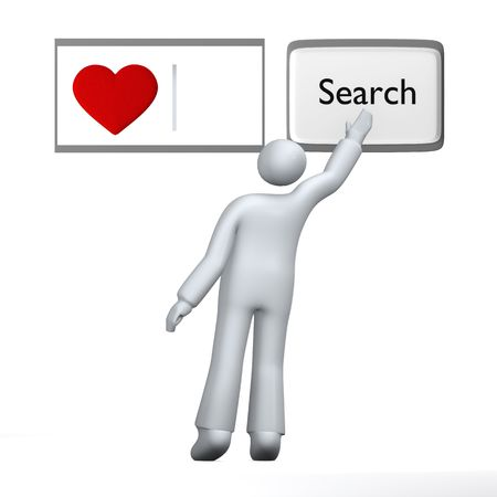 Looking for love, human searching for love with heart using abstract search engine photo