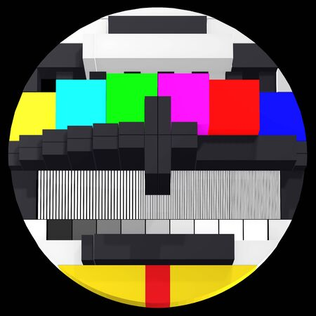 Abstract TV test card  for calibration and diagnose - three dimensional front view - part 2 Stock Photo