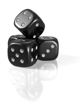 Four black dice set-up isolated on white background with slight reflection and shadow Stock Photo