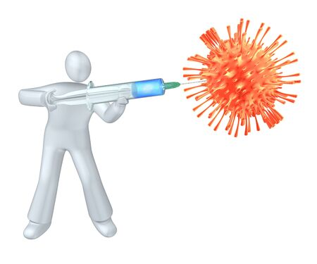 Human killing the virus injecting the vaccine with big syringe - version 2 Stock Photo