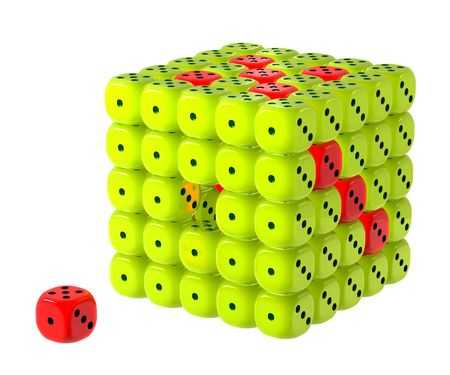 Dice cluster incomplete, watermelon fruity colors - green and red