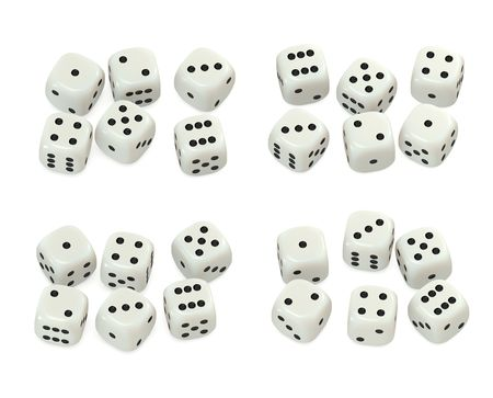 Ivory plastic dice sets 3D Stock Photo - 4905993