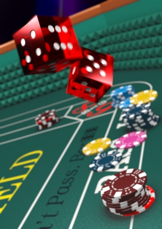 craps: Version with Narrow Depth of Field. Casino craps table, dice in motion. Stock Photo