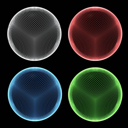 Four dotted holo spheres.  Half colour. Abstract traffic lights.