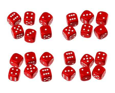Red plastic-like dice with white dots Stock Photo - 4928664
