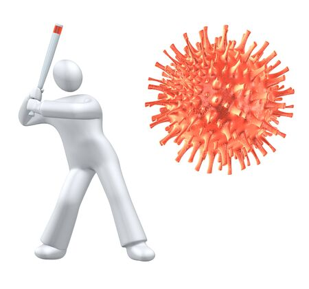 Human fighting the virus with baseball bat - metaphor Stock Photo