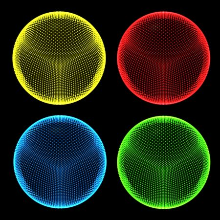Four dotted 'holo' spheres.  Saturated color. Abstract traffic lights.