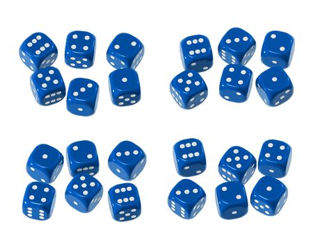 pips: Blue shiny plastic-like with white pips - isolated