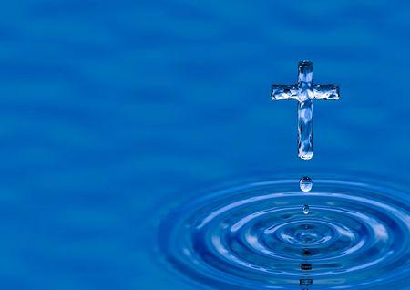 jesuit: Blue water ripple as Cross - religious metaphor Stock Photo