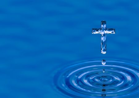 Blue water ripple as Cross - religious metaphor Stock Photo