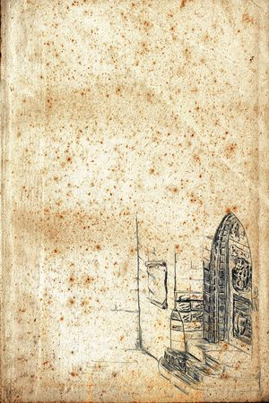 Old paper page with pencil drawn door