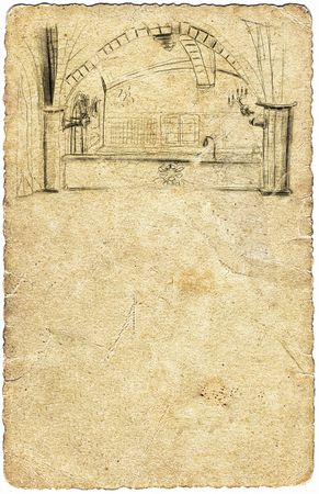 Old photo paper and pencil drawn chamber.Vintage photo sheet, freehand drawn castle chamber Stock Photo - 6970364