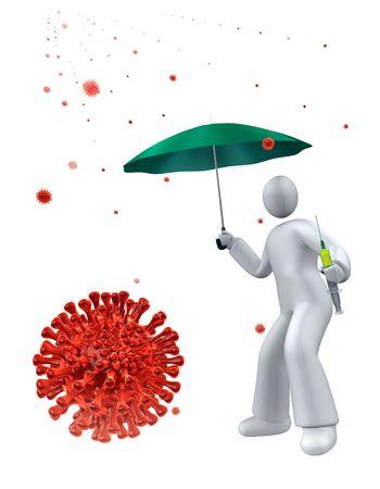 Self protecting from swine fluvirus rain, using syringe with vaccine photo